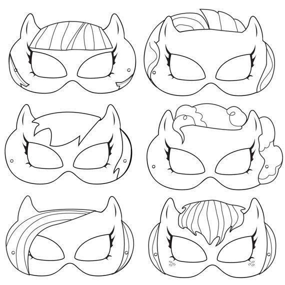 Pony Printable Coloring Masks, pony costume, pony masks