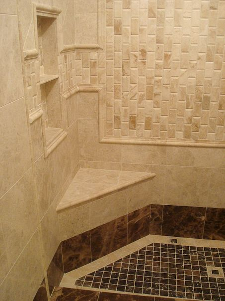 Bathroom Shower Tile  Interesting Pattern with Shelves
