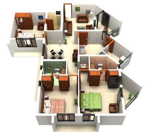 216 Best Images About 3D Housing Plans Layouts On Pinterest