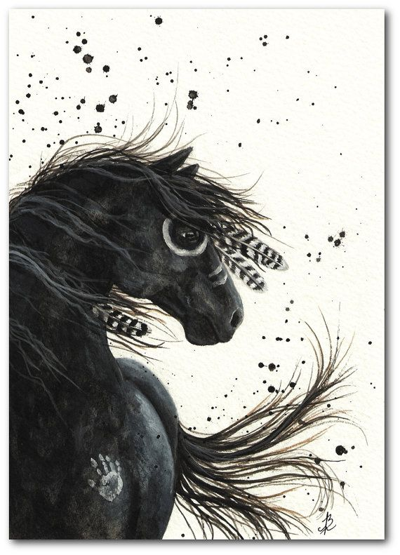 Native American Black Horse Feathers Mustang ArT – 8.5×11 Fine ArT Print by AmyLyn Bihrle