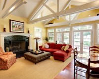 "Traditional Family Room ""red Couch"" + Yellow Design ..."