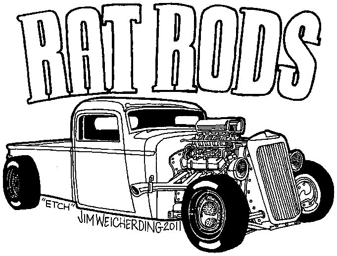 Rat Rod Cars Coloring Pages Sketch Coloring Page