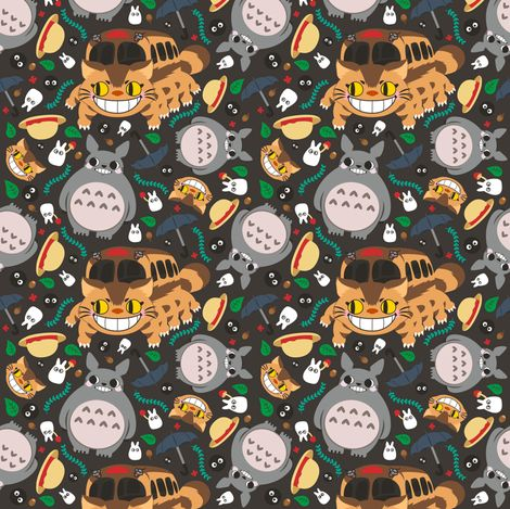 Cupcake Iphone Wallpaper Totoro Pattern02 Fabric By Samtronika On Spoonflower