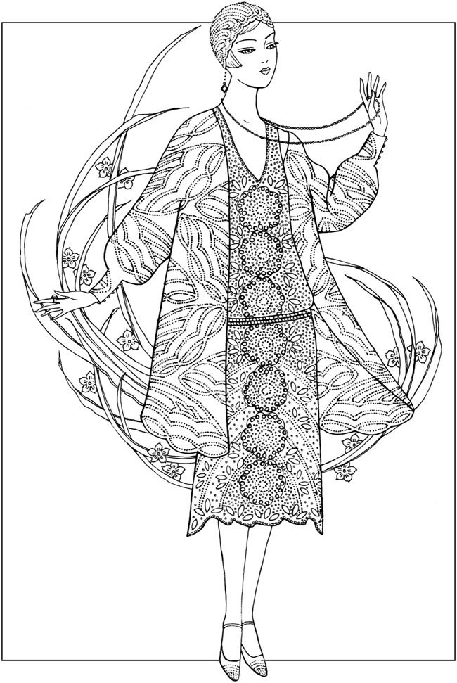 Creative Haven JAZZ AGE FASHIONS Coloring Book by: Ming-Ju
