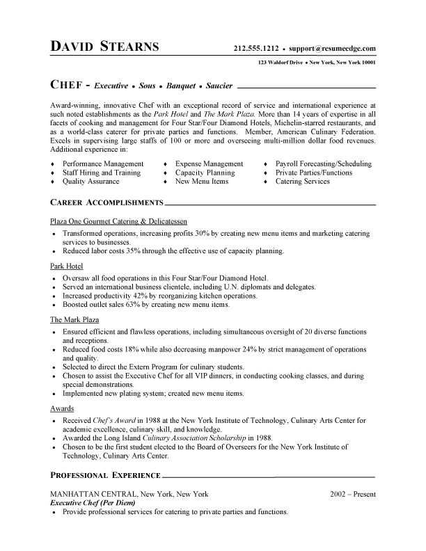 Professional Resume Cover Letter Sample  Chef Resume  Free Sample Culinary Resume  Resume