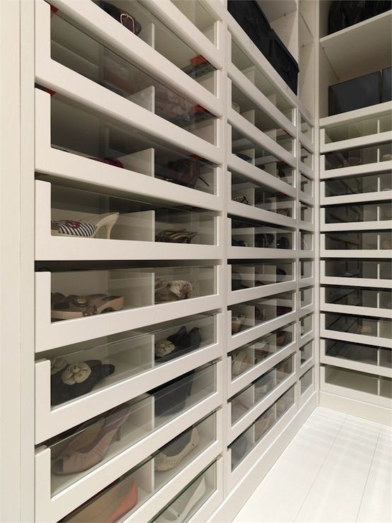 Fabulous closet with acrylic front pullout shoe cabinets