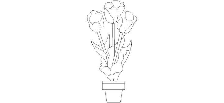 Dwg Adı : Saksıda çiçek çizimi İndirme Linki : http://www