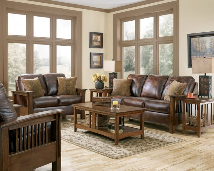 Mission Rustic Brown Faux Leather Sofa Couch