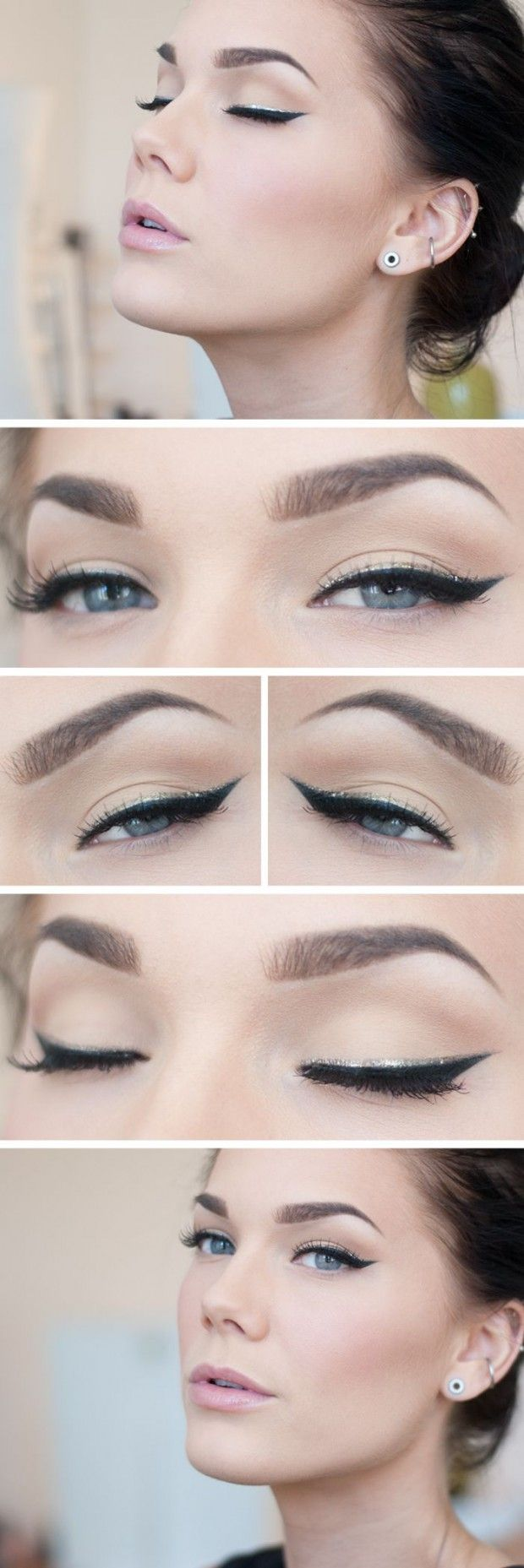 The black cat eyeliner is classic and the gold line above adds a special detail which can match your accessories and bring out