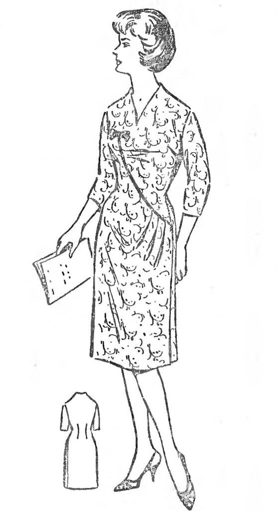 Free Vintage Asymmetric Dress with Undercut Sewing Draft