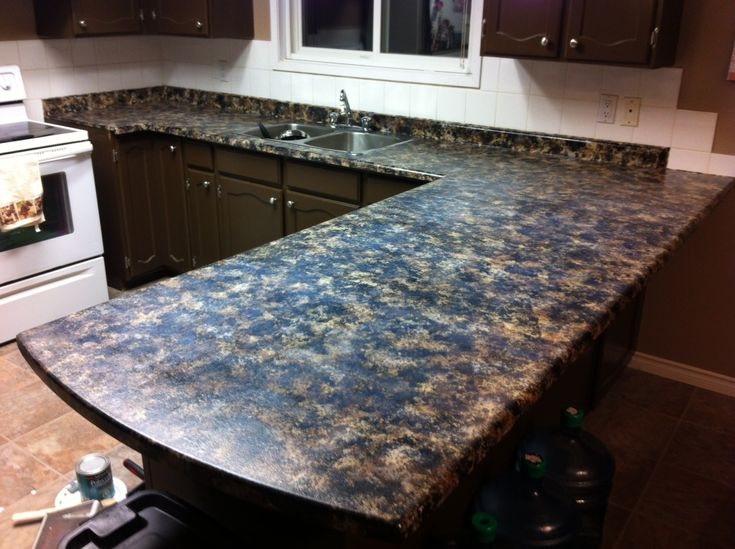 diy refinish kitchen cabinets small storage faux granite countertops. acrylic paint and a sea ...