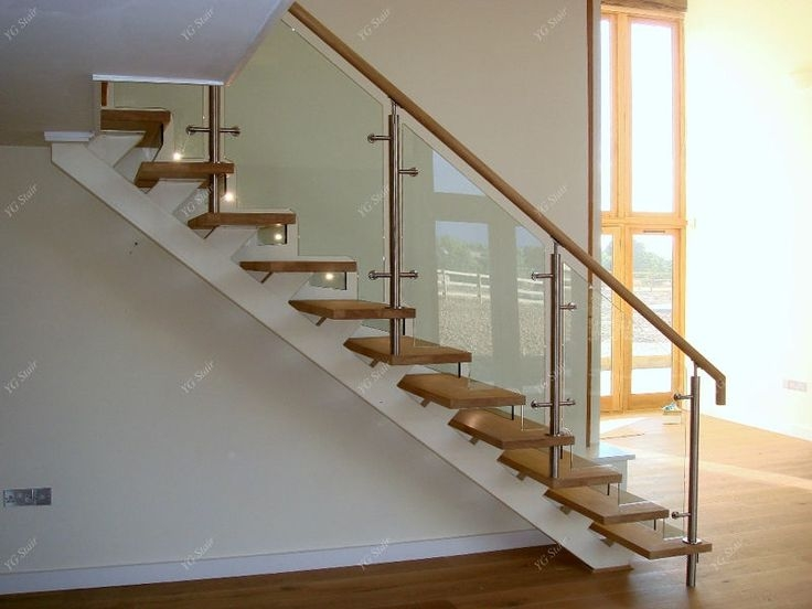 Indoor Stair Design With Wood Tread And Glass Railing | Wooden Stairs Railing Design With Glass