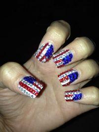 Rhinestone American flag nail art   My Nail Designs ...