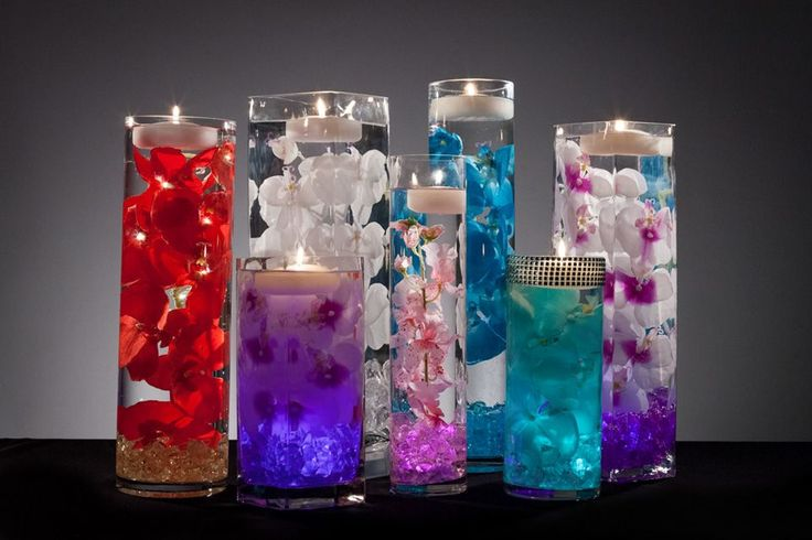 Floral Wedding Centerpieces with LED Lights and Floating