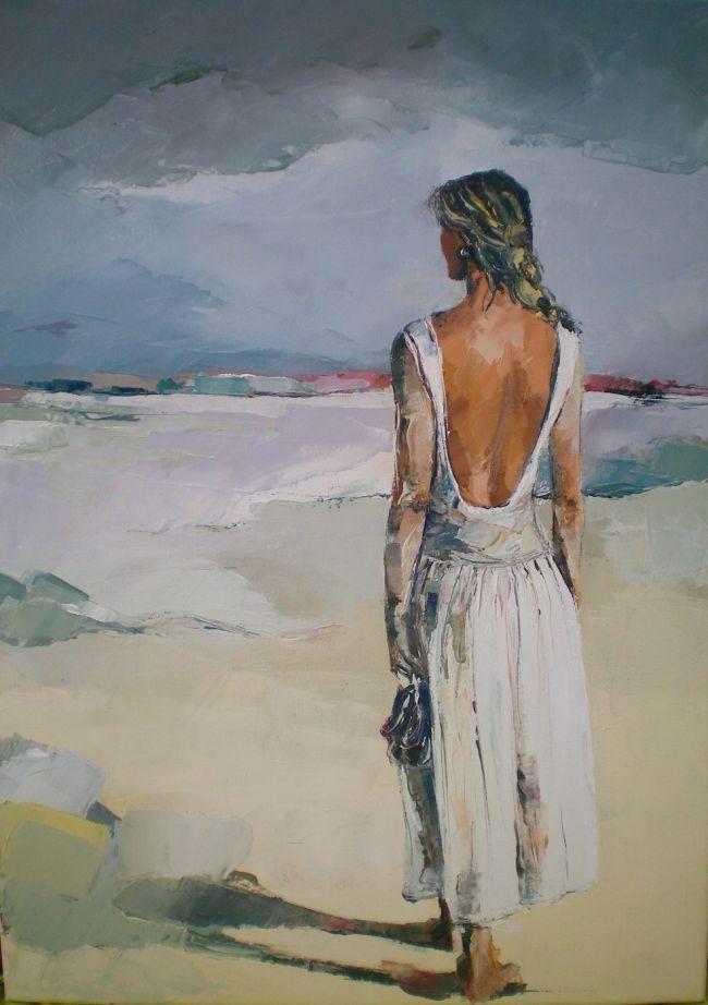 Peinture Lhuile Au Couteau Reprsentant Une Jeune Femme