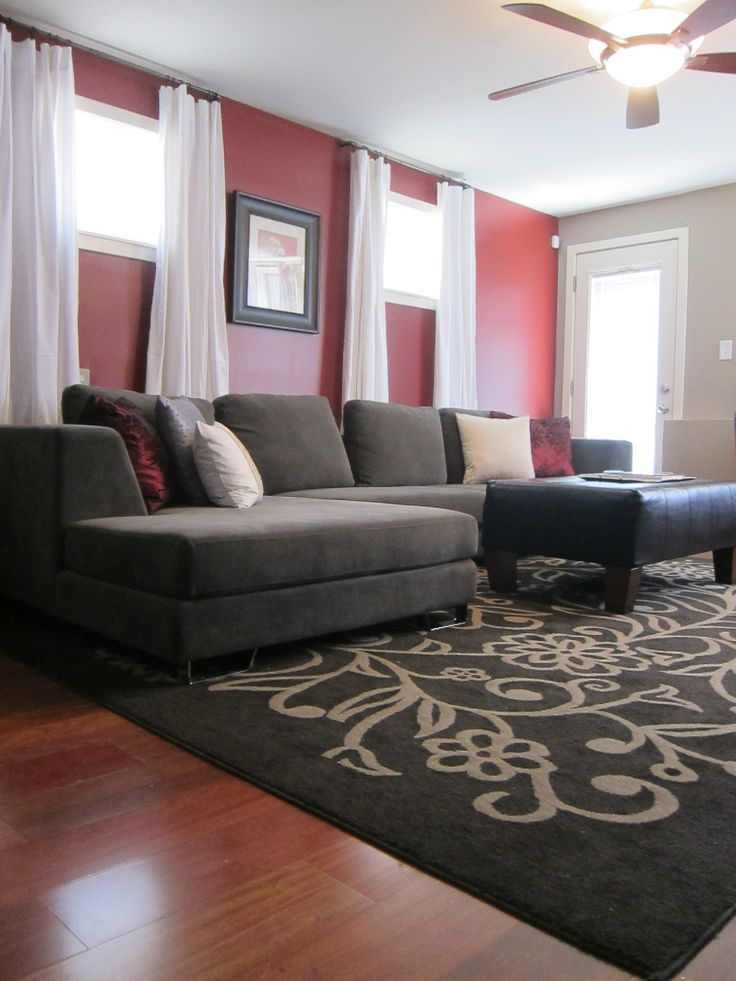 Red And Grey Living Room Walls