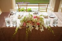 sweetheart table, light pink sequin linen, light pink ...