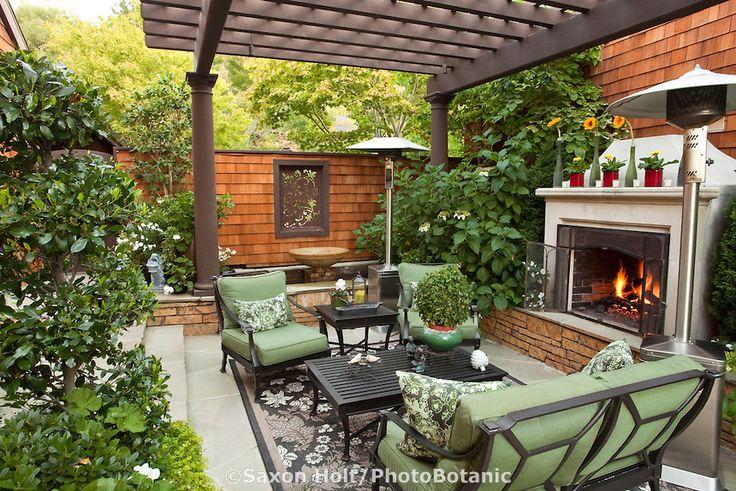 California outdoor garden room with shade pergola and