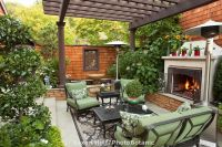 California outdoor garden room with shade pergola and