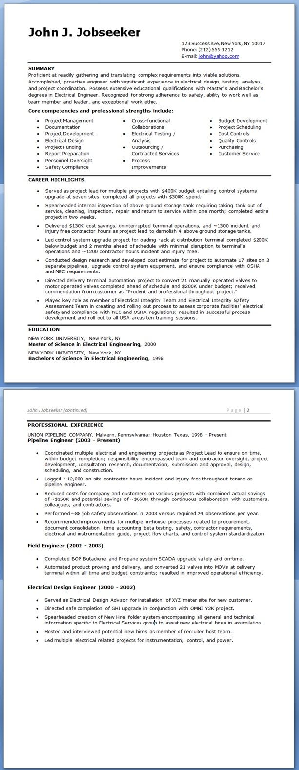 Engineering Resume Builder Model Resume For Electrical Engineer Radiovkm Tk