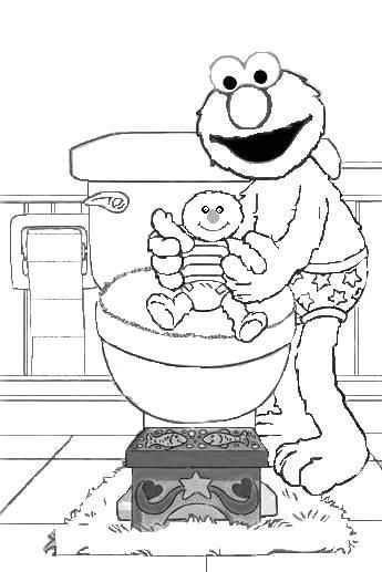 Elmo potty, Bye bye and Coloring pages on Pinterest