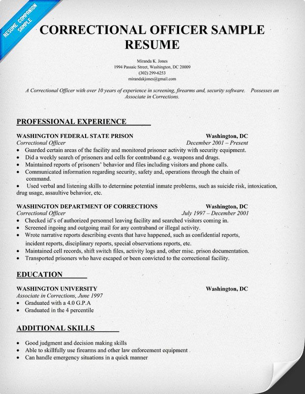 Sample Resume For Correctional Officer Ideal Vistalist Co