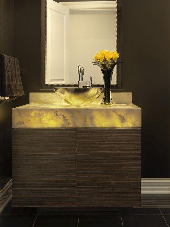 powder room backlit onyx vanity  Powder Room  Pinterest  Powder room and Vanities