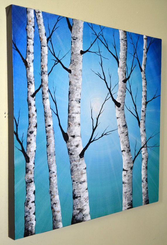 ORIGINAL Abstract Contemporary Art Textured Birch Tree Painting 24×24 Home Decor Modern Aspen Tree Artwork Blue Landscape, Wall