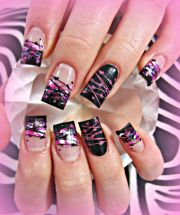 black and pink acrylic nails