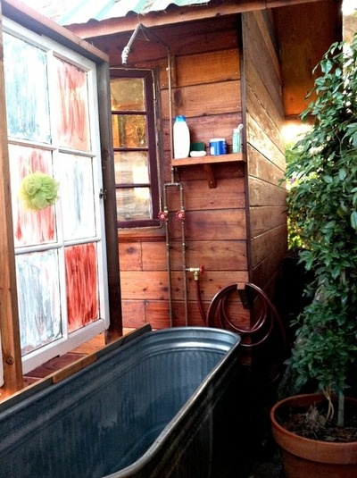Outdoor Bath Using Galvanized Livestock Trough Well Why