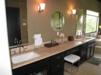 Double sink vanity with makeup area