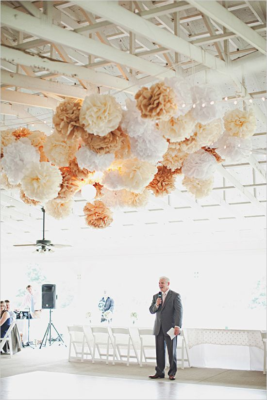 I want lots of paper flowers, real flowers, mason jars with candles, doilies, paper things, lace, lights, pastels and grey or