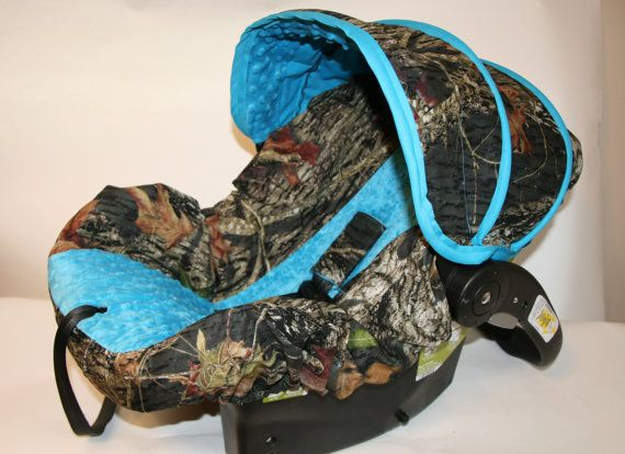 Mossy Oak infant car seat cover with Blue minky