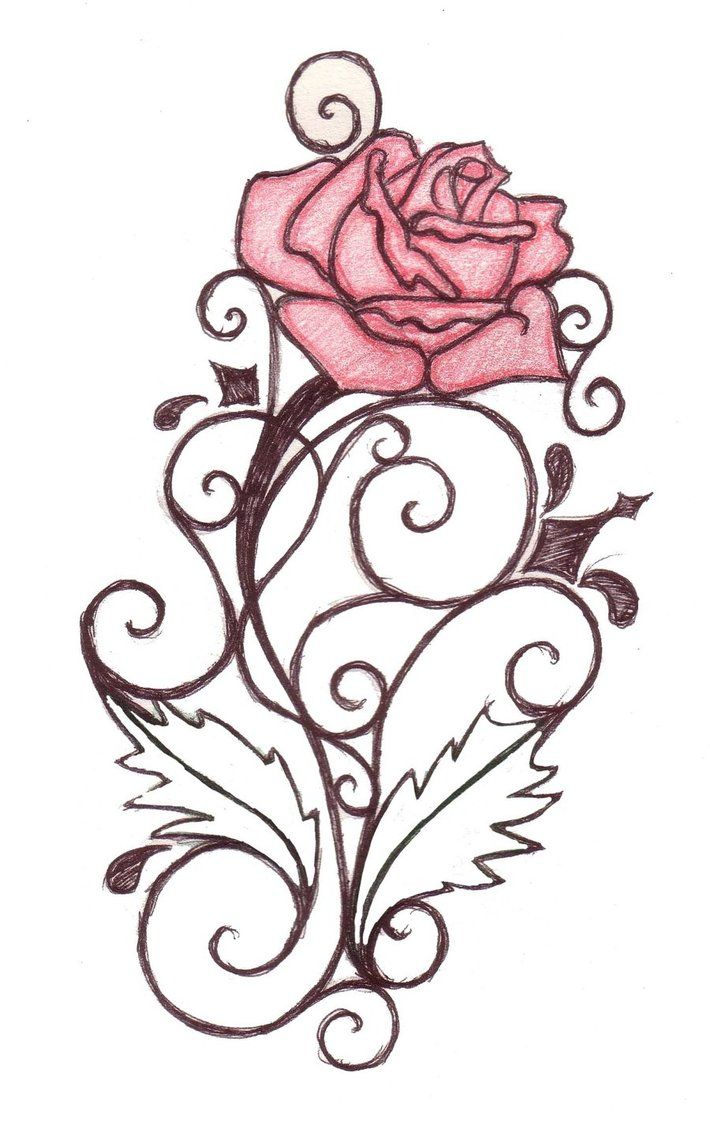 Rose Line Drawing Stencil Tattoo Designs