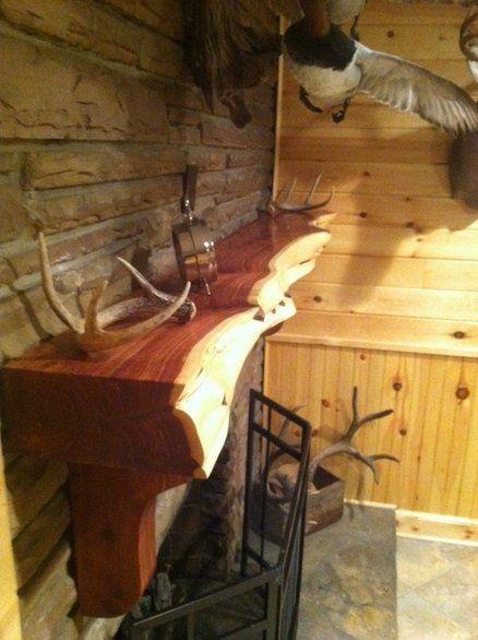 Cedar Log Fireplace Mantle Build It Pinterest