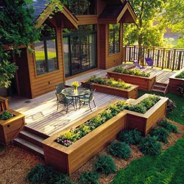 Decking With Raised Garden Bed Edging I'd Love To Have This