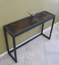 Modern Industrial Metal and Juniper Console Table, Sofa ...
