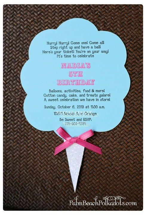 Cotton Candy Carnival Birthday Invitation by palmbeachpolkadots 275  Party Ideas  Pinterest