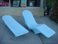 60's VINTAGE FIBRELLA FIBERGLASS POOL PATIO LOUNGE CHAIRS ...