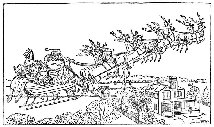 Christmas Santa Claus, Reindeer and Sleigh, public domain