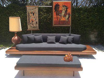 twin bed sofa couch crushed velvet corner uk mid century modern adrian pearsall walnut platform ...