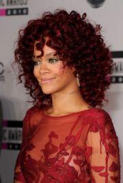 rihanna red hairstyles medium