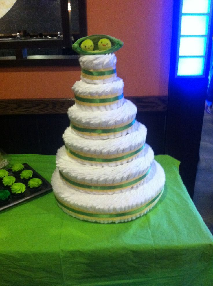 Two peas in a pod diaper cake  Two peas in a pod twin baby shower  Pinterest  Diapers Cakes