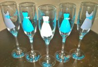 6 Wedding champagne flutes, Personalized Bride dress and ...