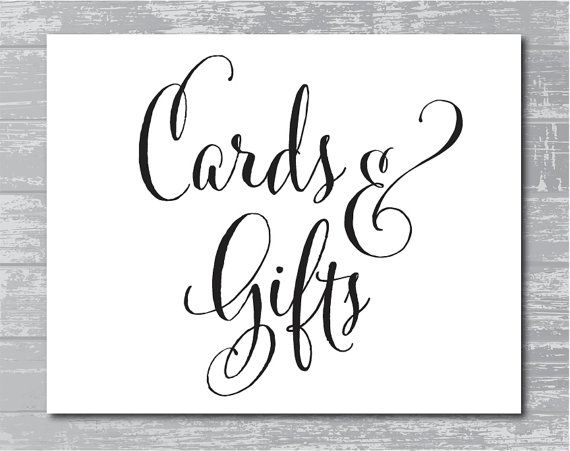 INSTANT DOWNLOAD  Cards  Gifts Sign 8x10 DIY Wedding Sign Printable Black  Cards Black