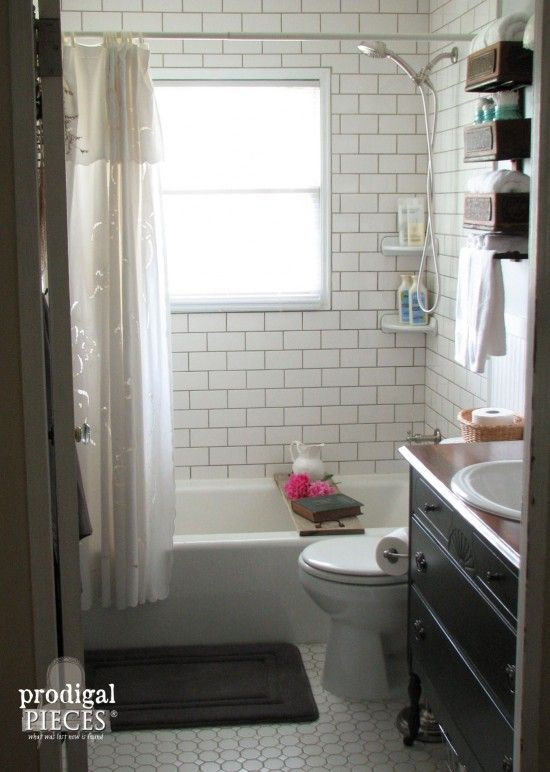 Farmhouse Bathroom Remodel Reveal  Gray Antique sewing