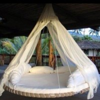 Old trampoline base used for a hanging swing bed. | home ...
