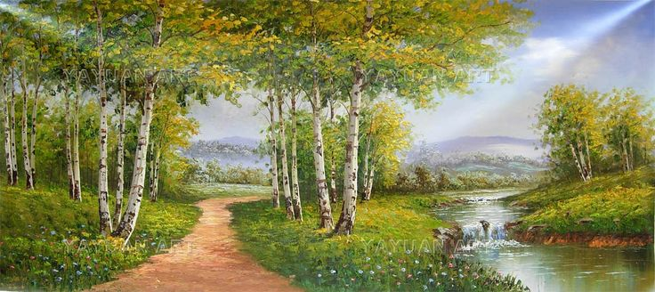 White Birch Forest Scenery Oil Painting