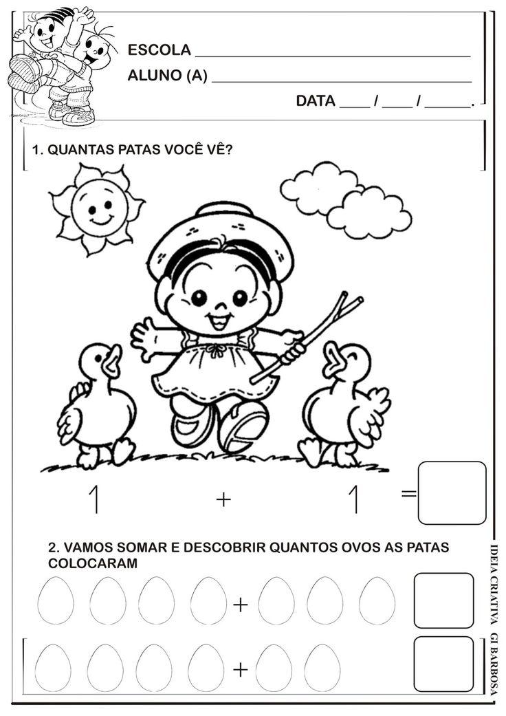 Matemática Infantil: Atividade Adição Turma da Mônica