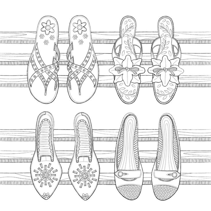 162 best images about Shoes Coloring Pages for Adults on
